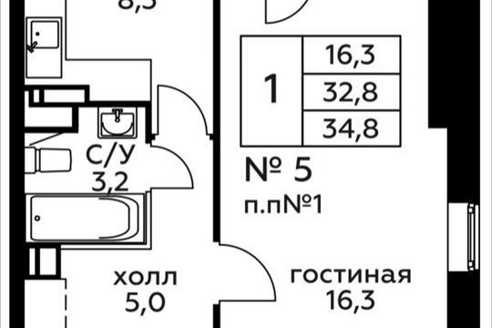 1-комн квартира, 34.8 м2, 2 этаж