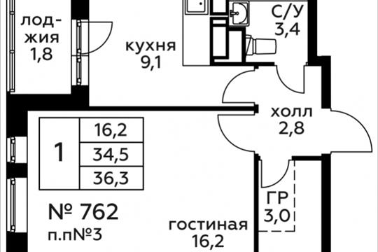 1-комн квартира, 36.3 м2, 4 этаж