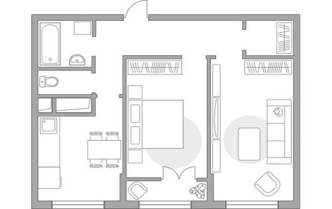 2-комн квартира, 54.32 м2, 5 этаж