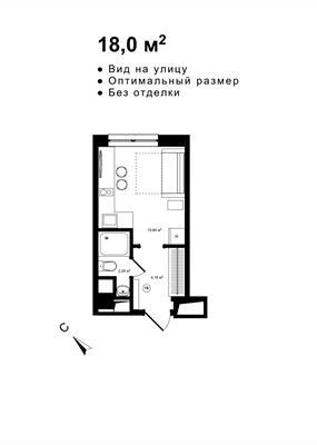 Студия, 18 м2, 3 этаж - фото 1