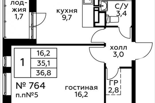 1-комн квартира, 36.8 м2, 4 этаж