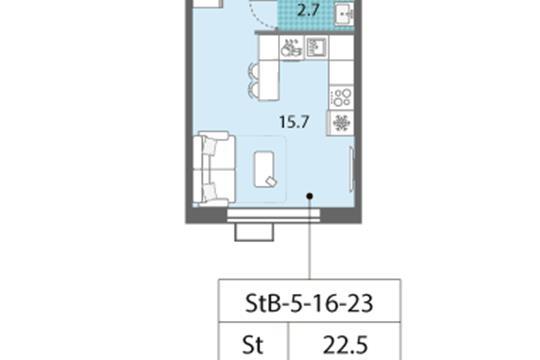 Студия, 22.5 м2, 21 этаж