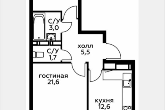 2-комн квартира, 61.1 м2, 3 этаж