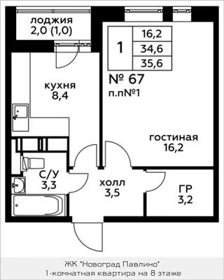 1-комн квартира, 35.6 м2, 8 этаж - фото 1