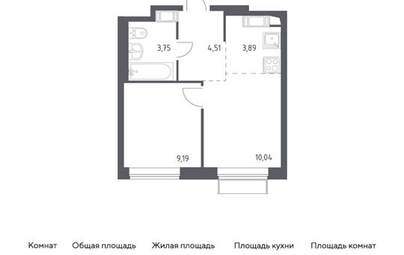 2-комн квартира, 31.38 м2, 7 этаж
