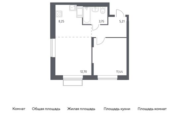 2-комн квартира, 41.32 м2, 9 этаж