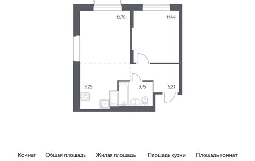 2-комн квартира, 41.35 м2, 11 этаж