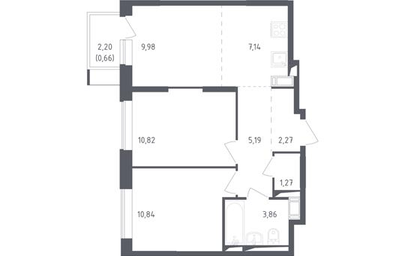 3-комн квартира, 52.03 м2, 6 этаж