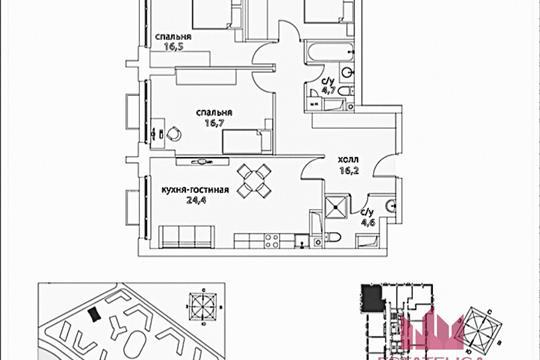 3-комн квартира, 95.8 м<sup>2</sup>, 3 этаж_1