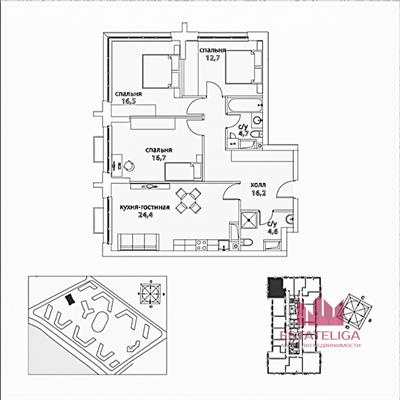 3-комн квартира, 95.8 м2, 3 этаж - фото 1