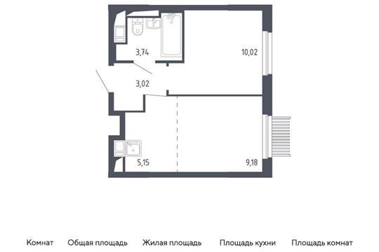 2-комн квартира, 31.11 м2, 2 этаж