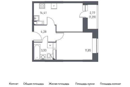 1-комн квартира, 35.86 м2, 5 этаж