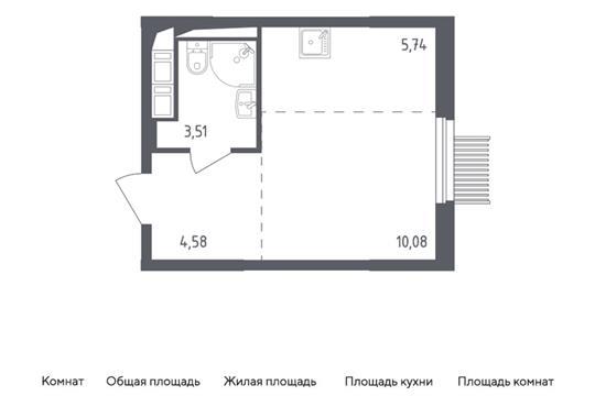 Студия, 23.91 м2, 6 этаж