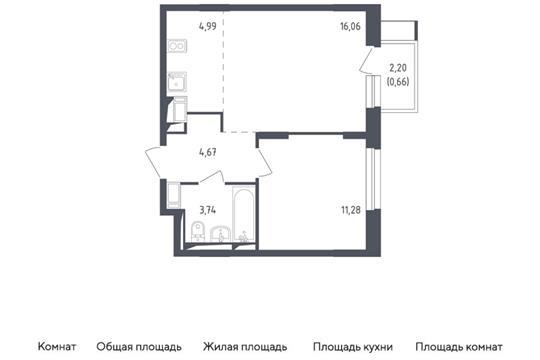 2-комн квартира, 41.4 м2, 10 этаж