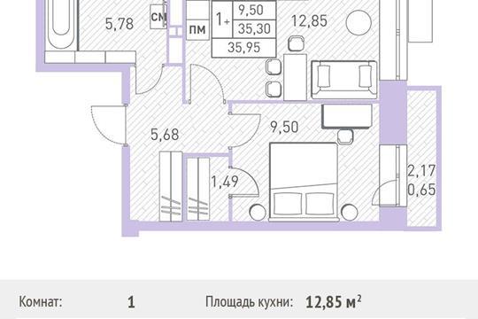1-комн квартира, 35.95 м2, 1 этаж
