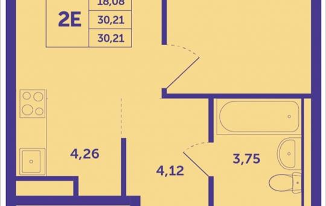 Студия, 30.21 м2, 9 этаж