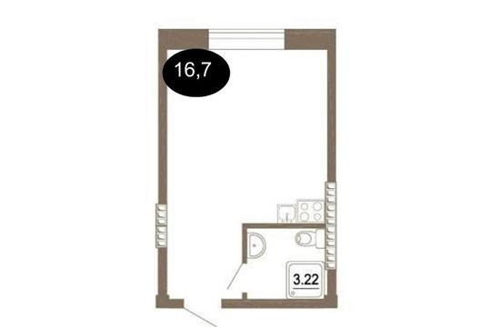 Студия, 16.7 м2, 1 этаж