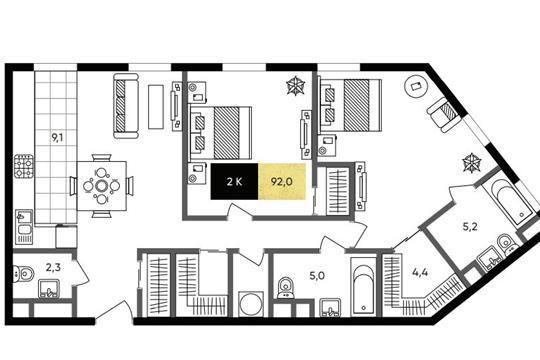 2-комн квартира, 90.4 м2, 2 этаж