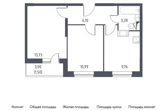 2-комн квартира, 45.36 м2, 11 этаж