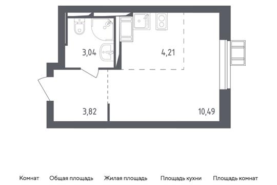 Студия, 21.56 м2, 6 этаж