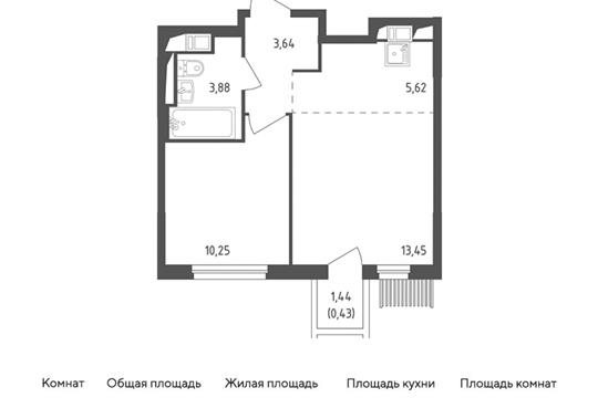 2-комн квартира, 37.27 м2, 16 этаж