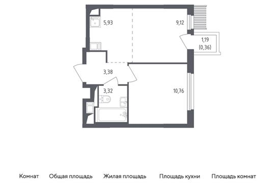 2-комн квартира, 32.87 м2, 12 этаж