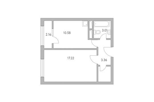 1-комн квартира, 38.39 м2, 4 этаж
