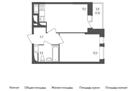 1-комн квартира, 37.8 м2, 8 этаж