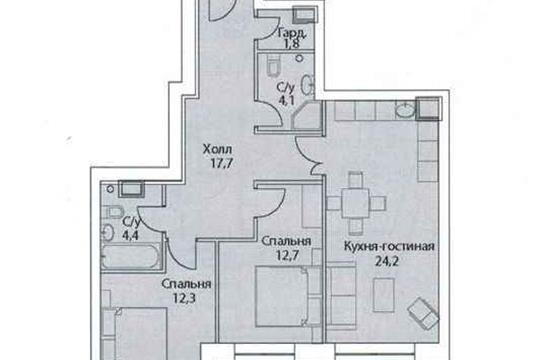 3-комн квартира, 79 м2, 31 этаж