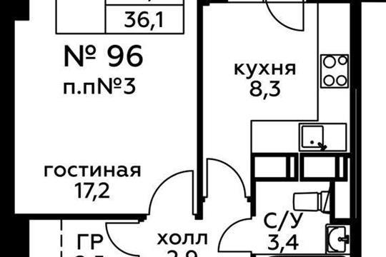 1-комн квартира, 36.1 м2, 4 этаж