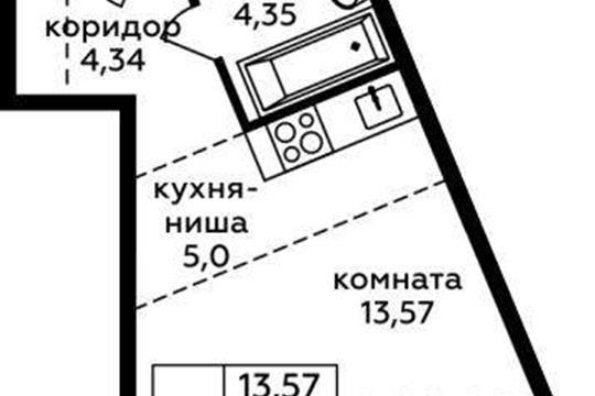 Студия, 27.26 м2, 2 этаж
