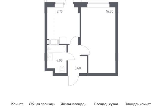 1-комн квартира, 34.1 м2, 3 этаж