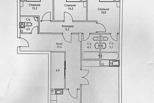 Многокомнатная квартира, 214 м2, 15 этаж