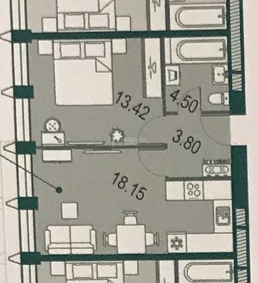 1-комн квартира, 39.87 м2, 28 этаж - фото 1