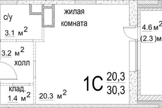 Студия, 30.3 м2, 3 этаж
