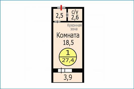 1-комн квартира, 27.4 м2, 1 этаж