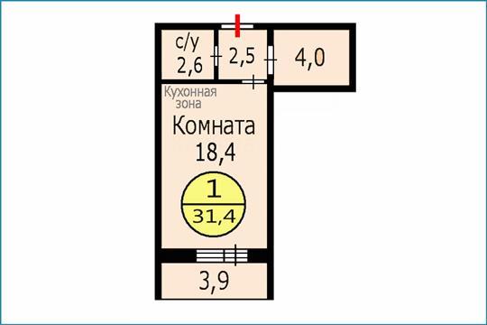 1-комн квартира, 31.4 м2, 13 этаж