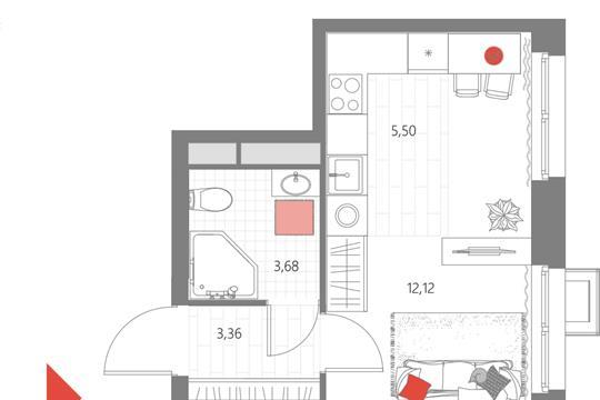 1-комн квартира, 24.66 м2, 12 этаж