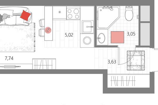 1-комн квартира, 19.44 м2, 15 этаж