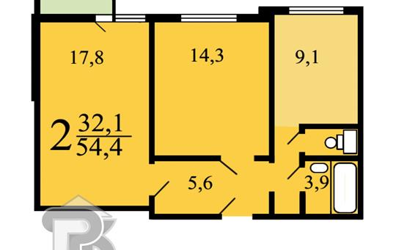 2-комн квартира, 54.4 м2, 10 этаж