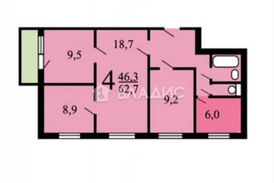 4-комн квартира, 68 м2, 1 этаж