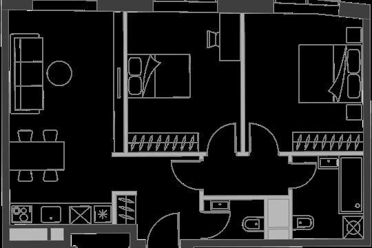2-комн квартира, 61.2 м2, 7 этаж