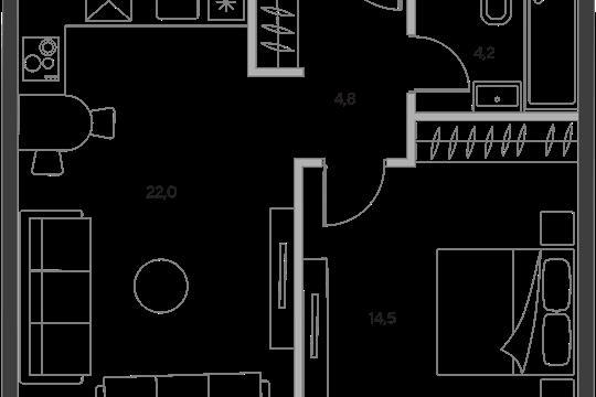 1-комн квартира, 45.5 м2, 18 этаж