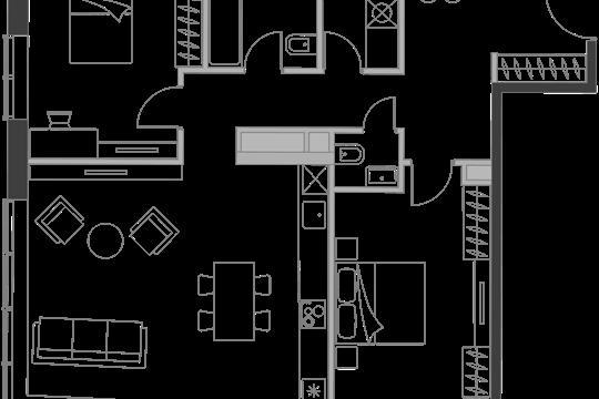 2-комн квартира, 80.4 м2, 14 этаж