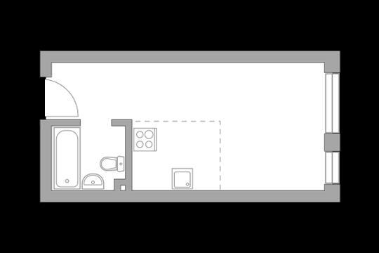 Студия, 25.7 м2, 11 этаж