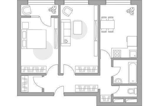 2-комн квартира, 51.75 м2, 2 этаж