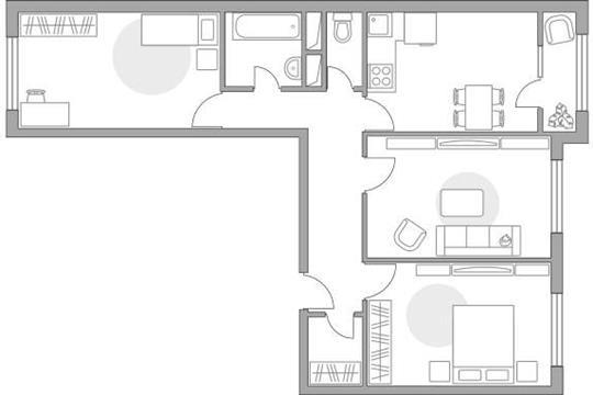 3-комн квартира, 69.19 м2, 5 этаж