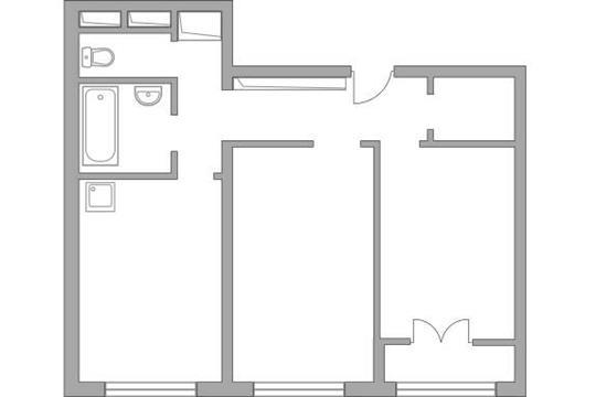 2-комн квартира, 50.65 м2, 1 этаж