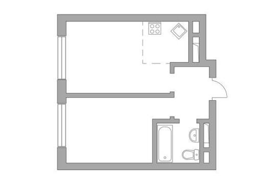 2-комн квартира, 35 м2, 17 этаж