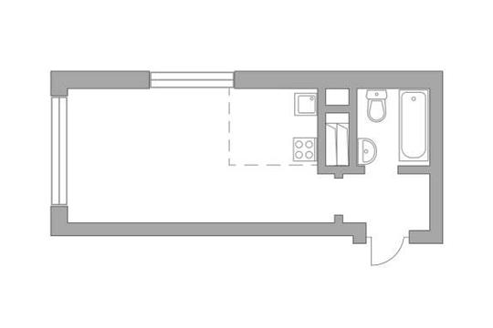 Студия, 23.8 м2, 22 этаж